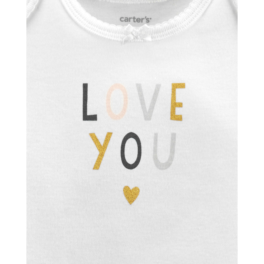 Carter's Set 3 Piese LOVE YOU – cardigan, body & pantaloni
