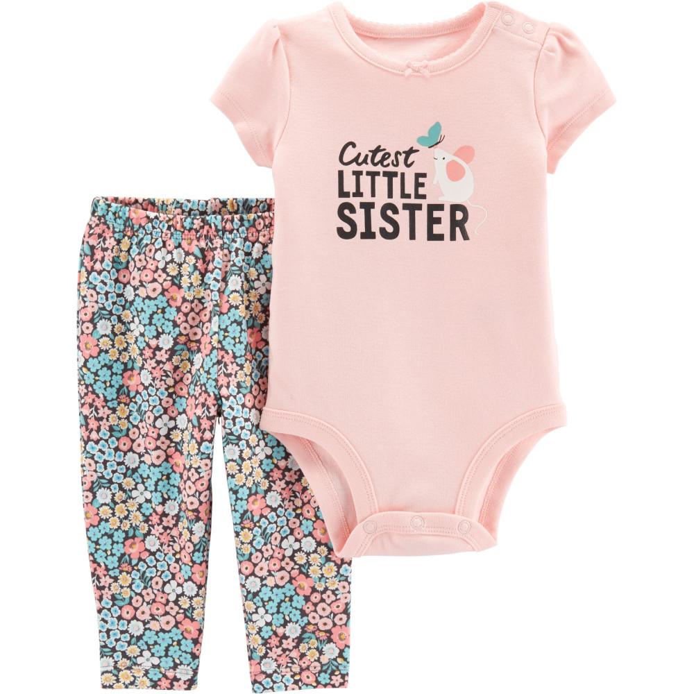 Carter's Set 2 Piese Sora Mai Mică, body & pantaloni 100% bumbac