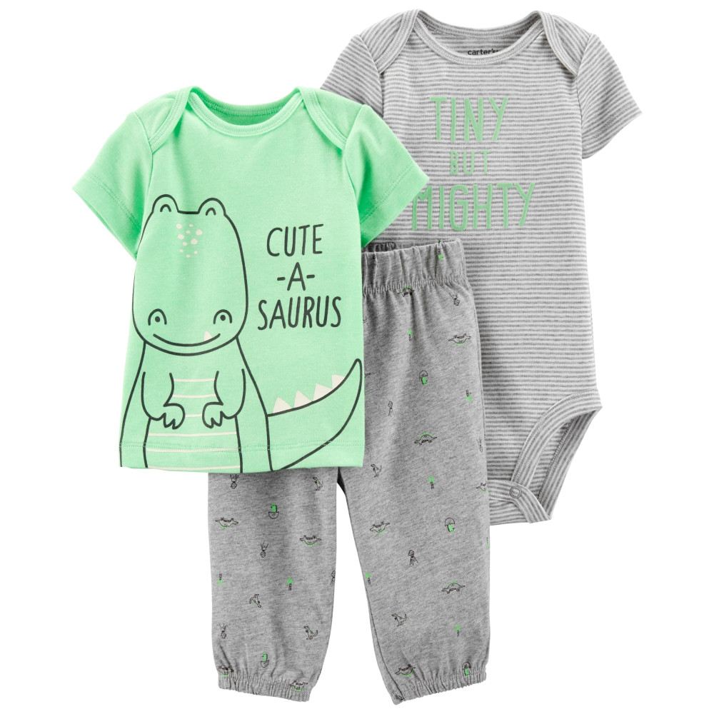 Carter's Set 3 Piese Dinozaur body, tricou & pantaloni lungi