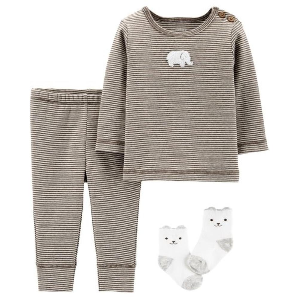 Carter's Set 3 piese Elefantel, pantaloni, top si sosete