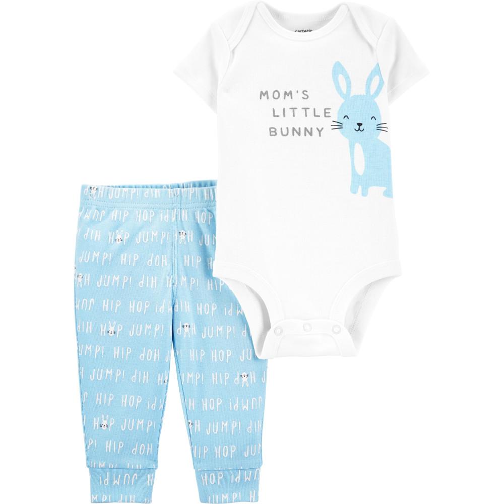 Carter's Set 2 piese bebelus pantaloni & body Iepuras