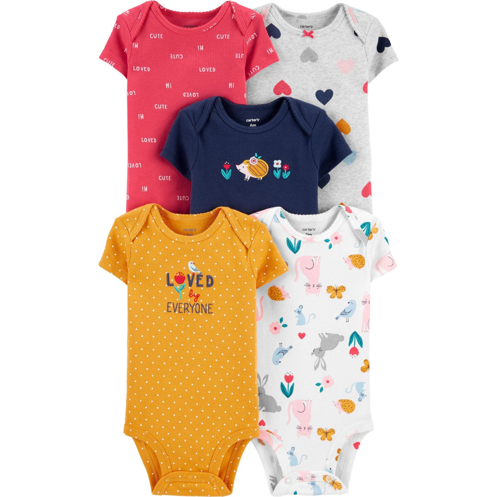 Carter's Set 5 piese bebe body animale si inimioare