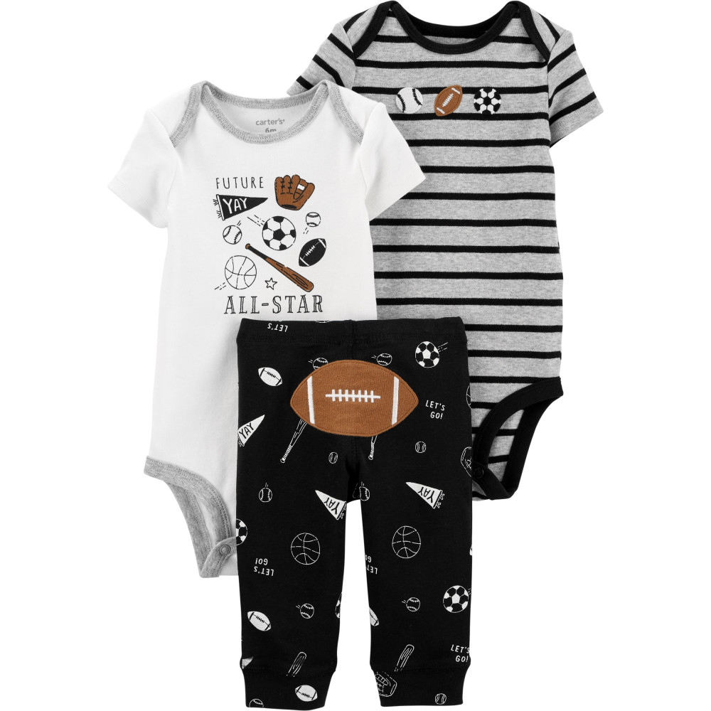 Carter's Set 3 Piese bebelus 2 body si pantaloni Football