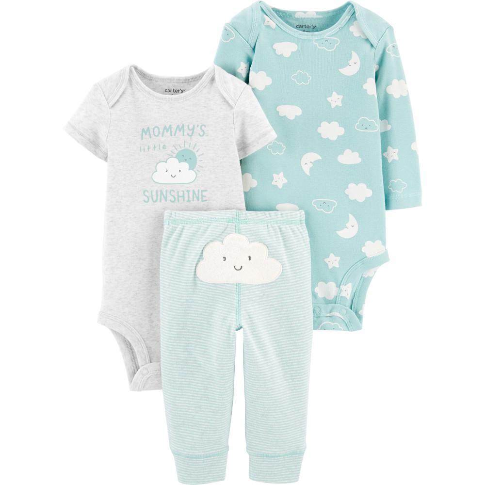 Carter's Set 3 Piese bebelus 2 body si pantaloni Norisori