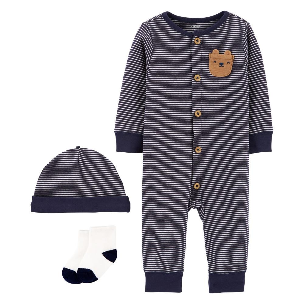 Carter's Set 3 piese bebe pijama, caciulita si sosete Ursulet