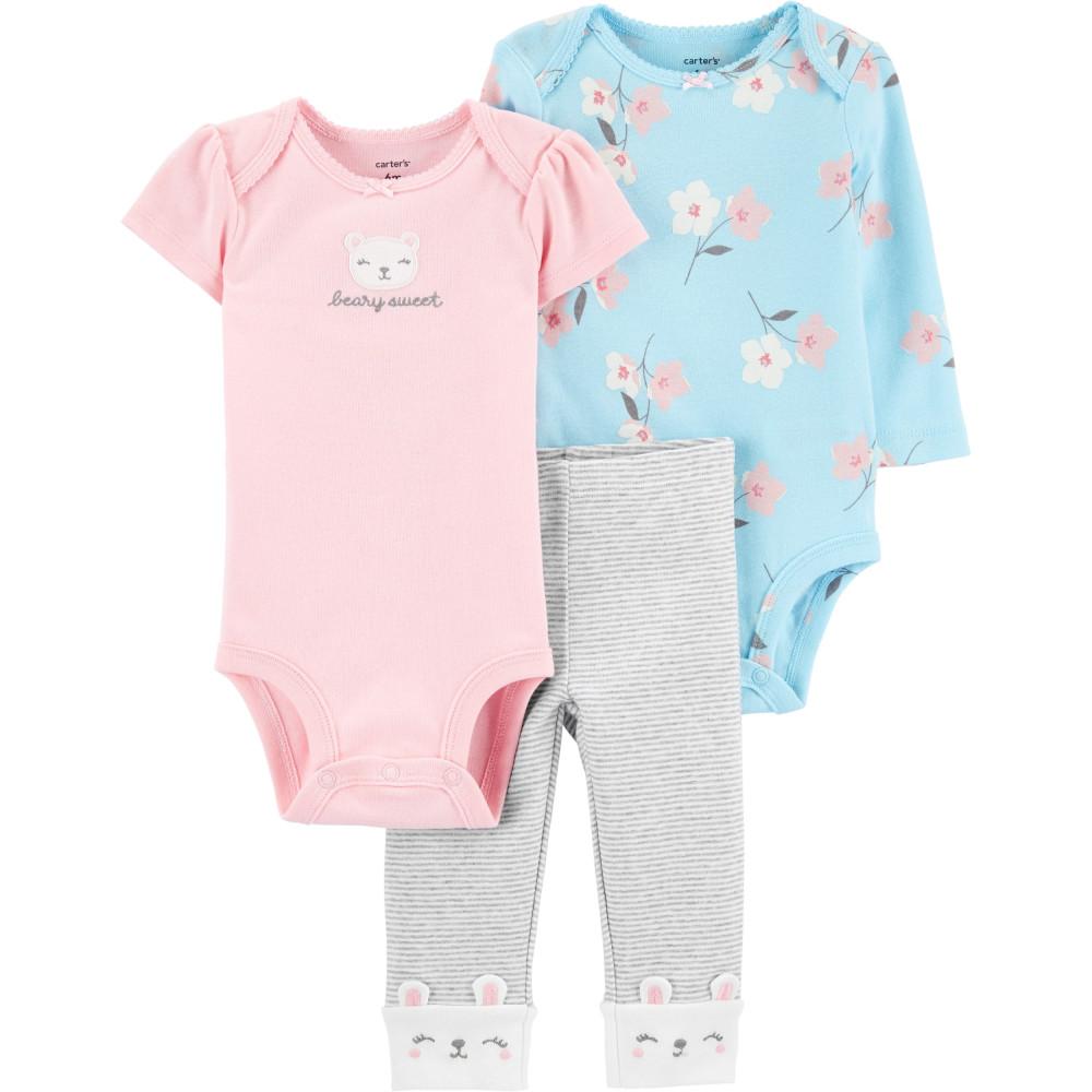 Carter's Set 3 Piese bebe 2 body si pantaloni Ursulet