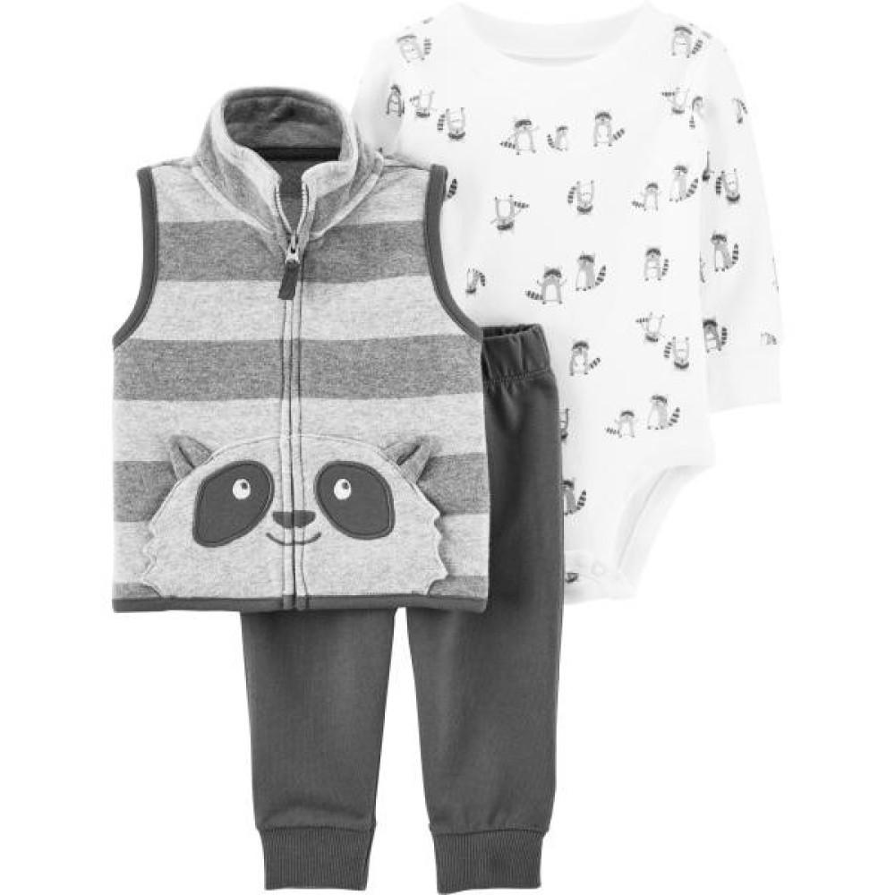 Carter's Set 3 piese bebelus vesta pantaloni si body Raton