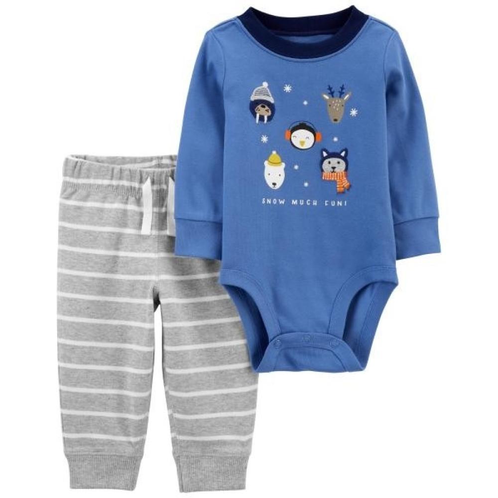 Carter's Set 2 piese bebelus pantaloni si body Animale