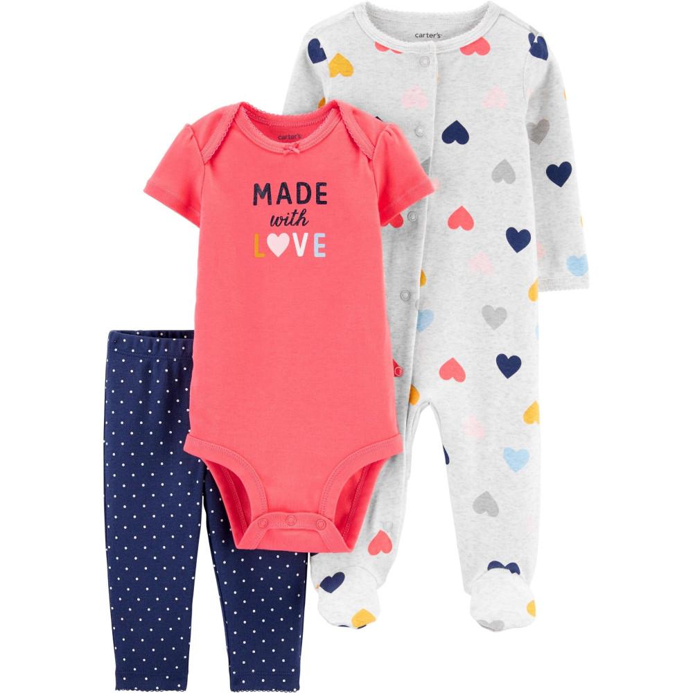 Carter's Set 3 Piese bebe pijama body si pantaloni Inimioare