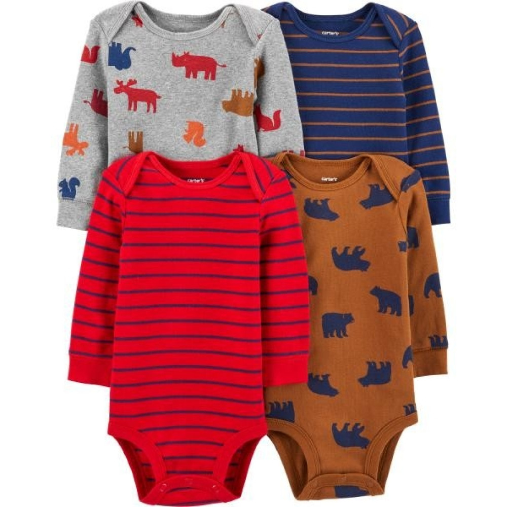 Carter's Set 4 piese bebe body animale, dungi