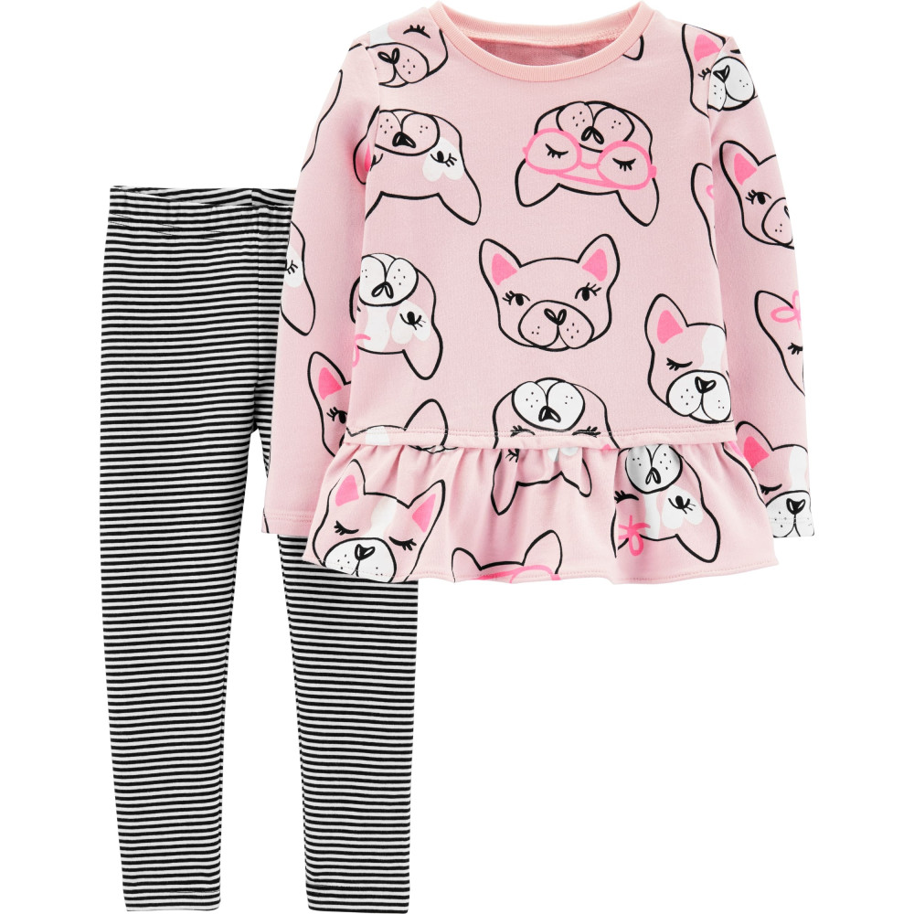 Carter's Set 2 Piese Bulldog Francez bluză & pantaloni