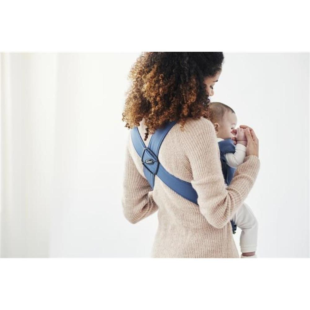 BabyBjorn - Marsupiu anatomic Mini, cu pozitii multiple de purtare – Vintage Indigo, Bumbac