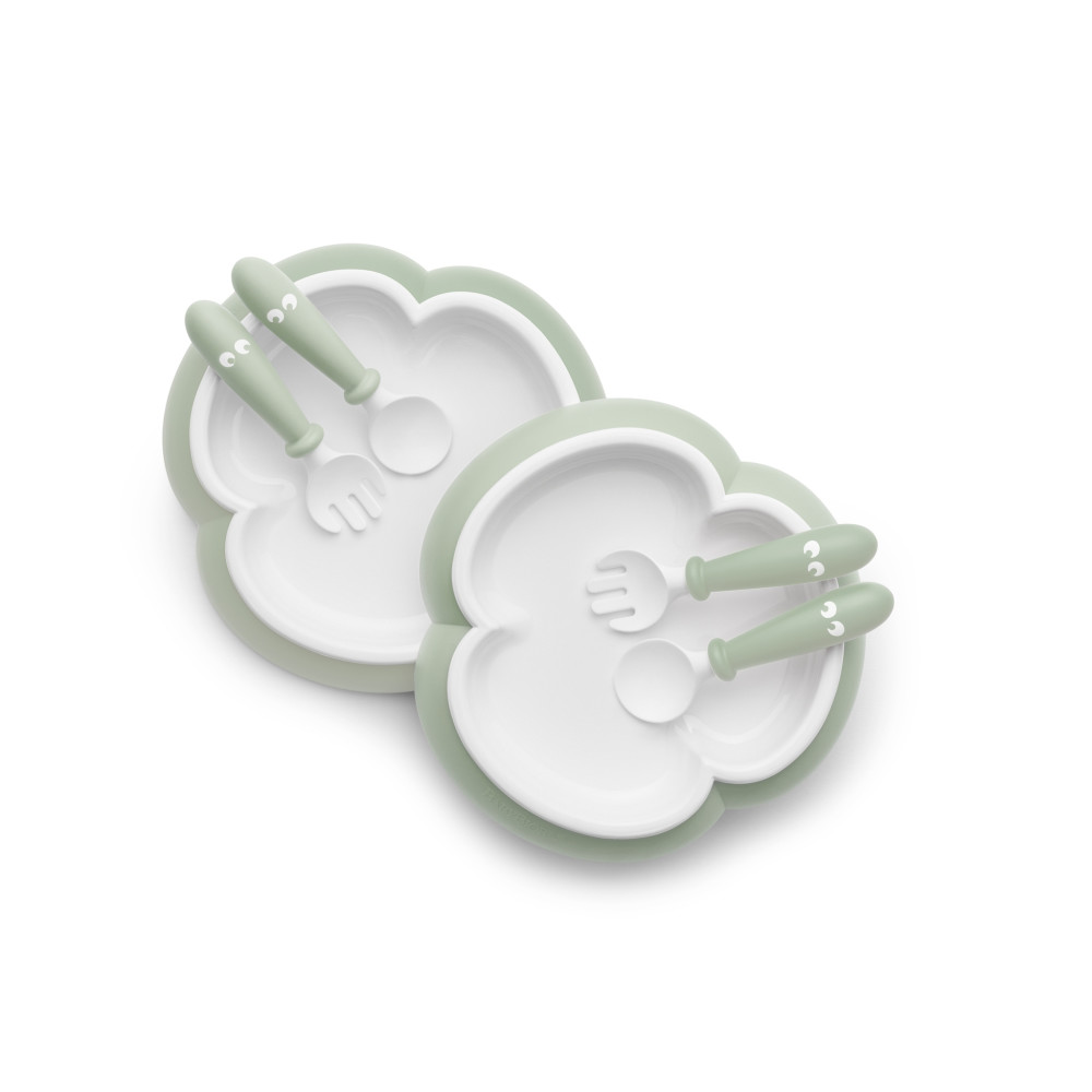 BabyBjorn - 2 Seturi hranire: farfurie, lingurita si furculita pentru bebe, Powder Green