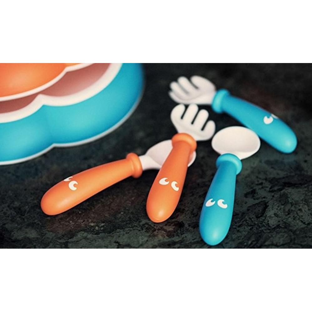 BabyBjorn – Set Lingurite si Furculite pentru bebelusi (4 bucati), Orange/Turquoise