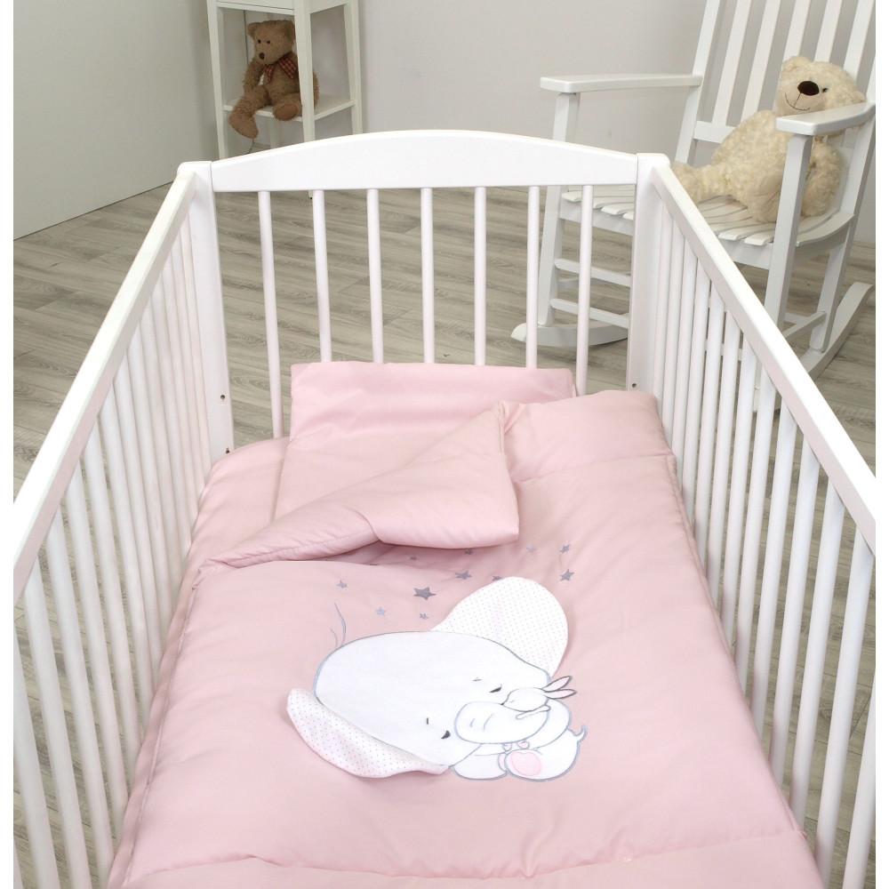 Jolie - Lenjerie 3 piese Elephant Light Pink, 120*60cm