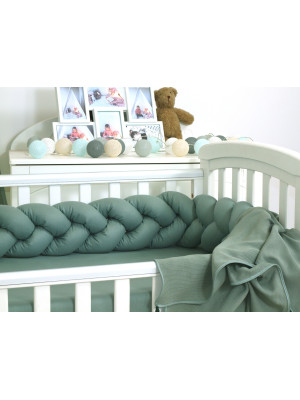 Jolie Protectie impletita pentru patut si Baby Nest Pure Salvia, 210*21 cm