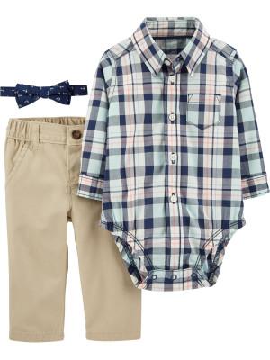 Carter's Set 3 piese pantaloni bej, body tip camasa in carouri si papion