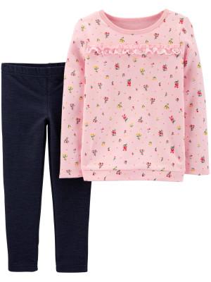 Carter's Set 2 Piese bluză & pantaloni Flori
