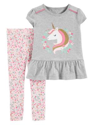 Carter's Set 2 Piese tricou si pantaloni Unicorn