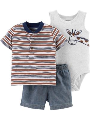 Carter's Set 3 Piese pantaloni scurți, tricou & body Girafa