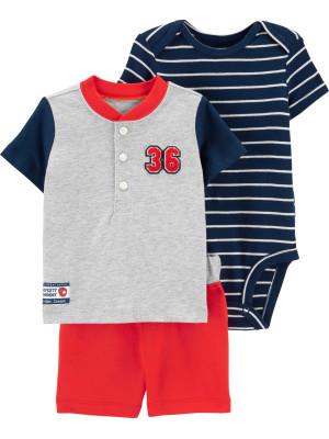 Carter's Set 3 Piese bebe tricou, body si pantaloni scurti Baseball