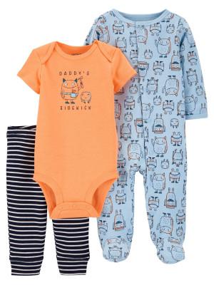 Carter's Set 3 Piese bebelus pijama body si pantaloni Monstrulet