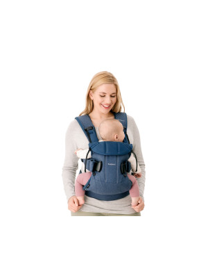 BabyBjorn - Marsupiu anatomic One, cu pozitii multiple de purtare Denim Midnight Blue, Bumbac