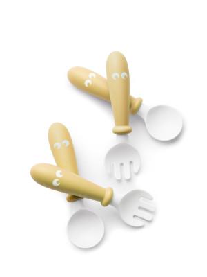 BabyBjorn - Set Lingurite si Furculite pentru bebelusi (4 bucati), Powder Yellow
