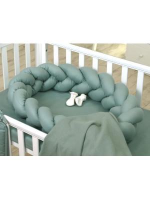 Jolie Protectie impletita pentru patut si Baby Nest Pure Salvia, 240*21 cm