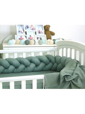 Jolie - Protectie impletita pentru patut si Baby Nest Pure Salvia, 210*21 cm