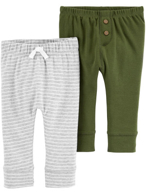 Carter's Set 2 piese pantaloni verde/gri