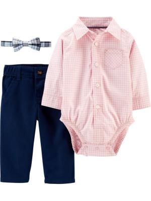 Carter's Set 3 piese pantaloni, body tip cămașă in carouri si papion