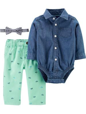 Carter's Set 3 piese pantaloni, body tip cămașă si papion