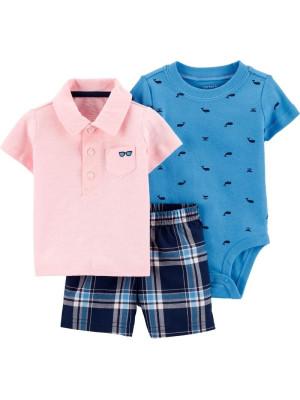 Carter's Set 3 Piese tricou polo, body & pantaloni scurti