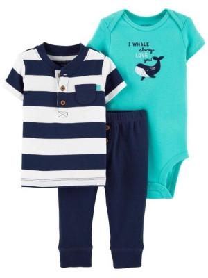 Carter's Set 3 piese pantaloni, tricou si body Dinozaur Balena