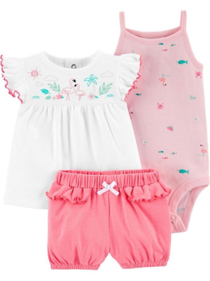 Carter's Set 3 Piese top, body & pantaloni scurti Flamingo