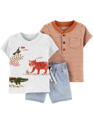 Carter's Set 3 Piese pantaloni scurți & 2 tricouri Safari