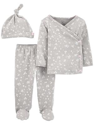 Carter's Set 3 piese bebe pantaloni, top si caciulita gri