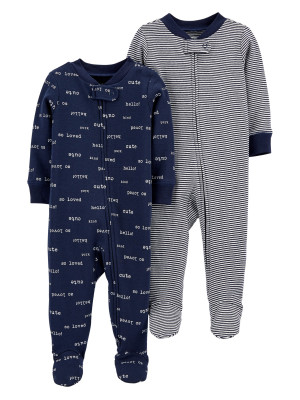 Carter's Set 2 piese pijamale bebe text