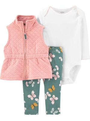 Carter's Set 3 piese bebelus vesta pantaloni si body Fluturi
