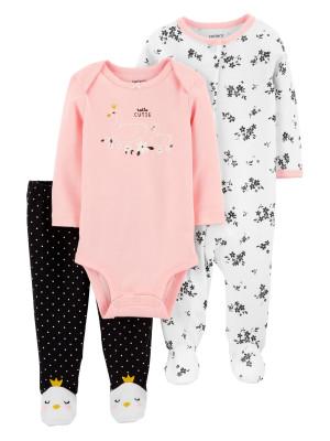 Carter's Set 3 Piese bebe pijama body si pantaloni Lebada
