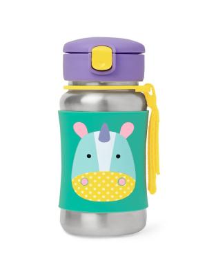Skip Hop - Sticla cu pai din otel inoxidabil Zoo Unicorn