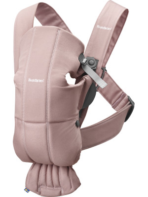 BabyBjorn - Marsupiu anatomic Mini, cu pozitii multiple de purtare – Dusty Pink, Bumbac