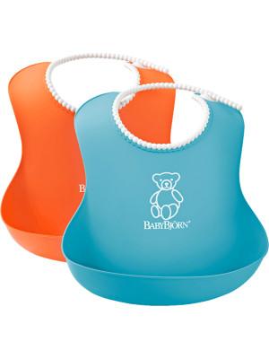 BabyBjorn - Set 2 bavete Soft Bib, Orange/Turquoise