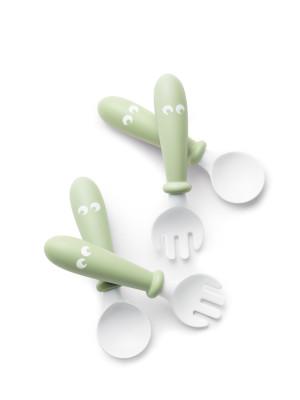 BabyBjorn - Set Lingurite si Furculite pentru bebelusi (4 bucati), Powder Green
