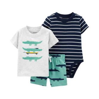 Carter's Set 3 Piese Aligator pantaloni scurți, tricou & body 100% bumbac