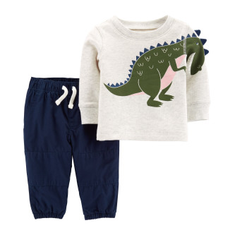 Carter's Set 2 Piese Dinozaur bluză & pantaloni 100% bumbac