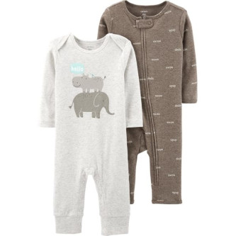 Carter's Set 2 piese salopete Hipopotam si elefant