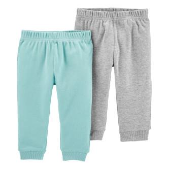 Carter's Set 2 piese pantaloni turcoaz/gri 100% Bumbac Organic