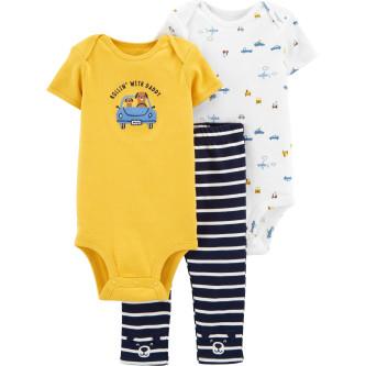Carter's Set 3 Piese bebe 2 body si pantaloni Masini